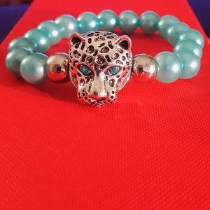 Jewelry - 🐅Blue Tiger Eye Head Snap Bead Bracelet🐅